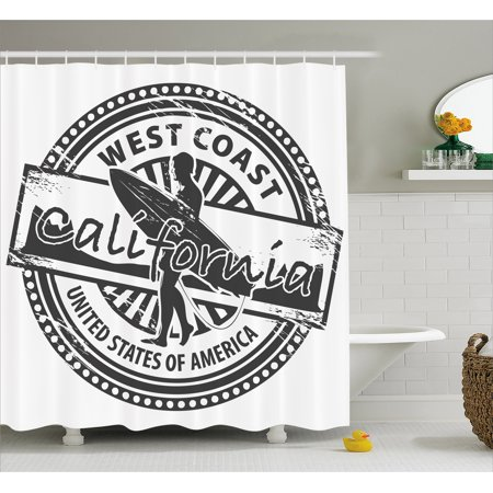 Ride The Wave Shower Curtain West Coast California United States Of America Grunge Vintage Stamp Print Fabric Bathroom Set With Hooks Grey White