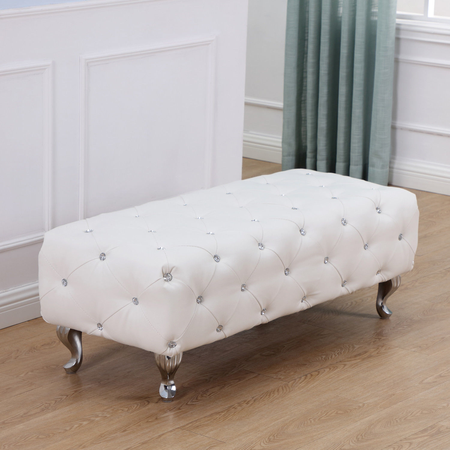 HomCom Modern Tufted PU Leather Bench With Crystal Accents (White)
