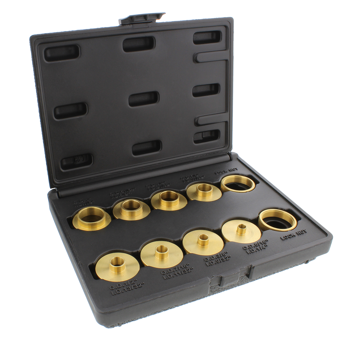 DCT Brass Router Template Guides Bushing & Lock Nuts 10-Piece Guide Bushings Set by DCT