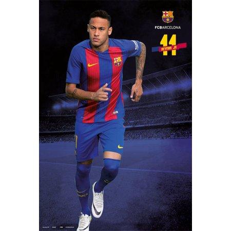 Fc Barcelona   Soccer Poster   Print  Neymar Jr   11   Charging   2016 2017   Size  24   X 36