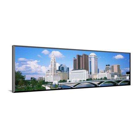 Bridge across the Scioto River with skyscrapers in the background, Columbus, Ohio, USA Wood Mounted Print Wall Art - Halloween Usa Columbus Ohio