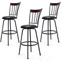 Costway Set of 3 Swivel Bar Stools PU Leather Steel Frame Barstool Bistro Pub Chair