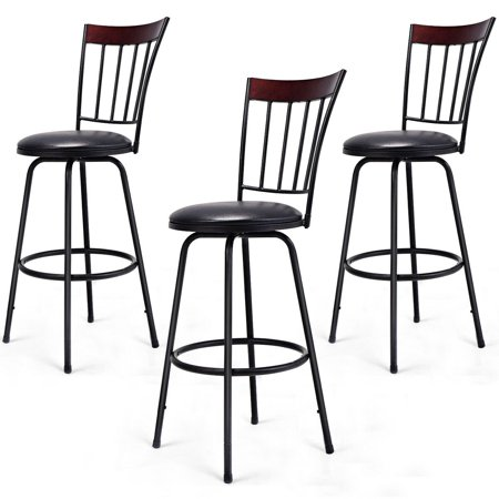 Costway Set of 3 Swivel Bar Stools PU Leather Steel Frame Barstool Bistro Pub Chair (Black Bistro Stool)
