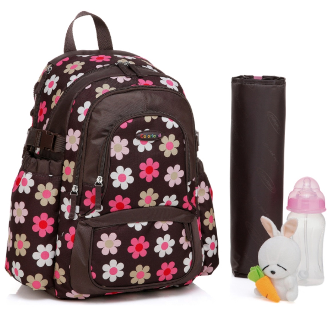 Colorland Functional Backpack Diaper Bag, French Flower
