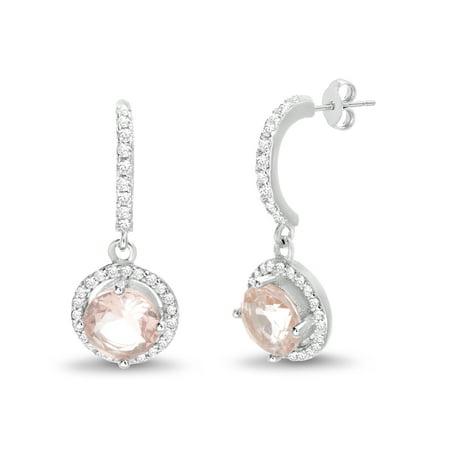 Half Moon Earrings - White Cubic Zirconia Simulated Morganite Half Moon Halo Post Earrings in Sterling Silver