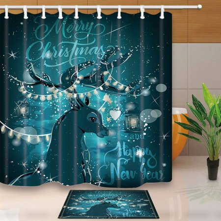 BPBOP Magic Night Christmas Deer for New Year Decor Shower Curtain 66x72 inches with Floor Doormat Bath Rugs 15.7x23.6 inches](Magic Decor)