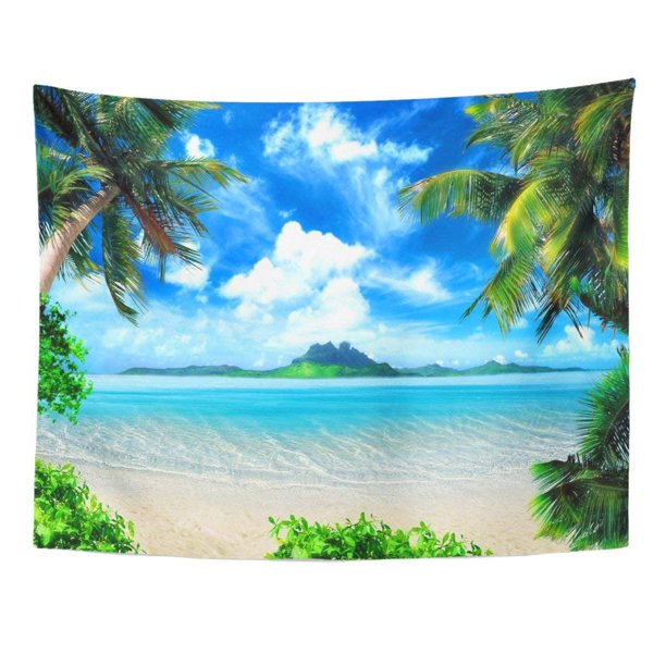 Refred Tropical Coast Beach Hang Palm Trees View The Sea Island Green And Sky Large Clouds Magical Lighting Wall Art Hanging Tapestry Home Decor For Living Room Bedroom Dorm 51x60 Inch