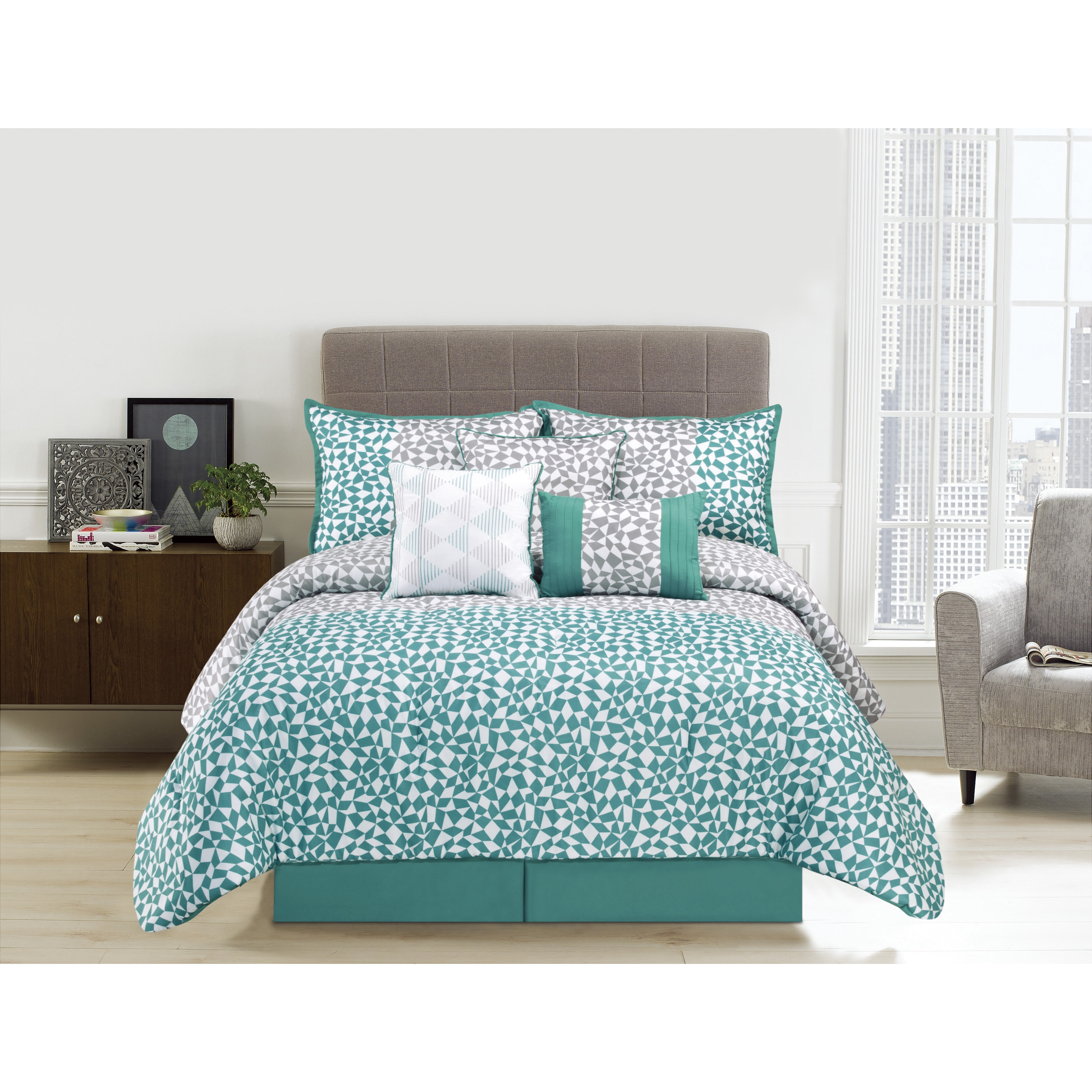 MYTEX LLC Picadilly Aqua Microfiber 7-piece Comforter Set