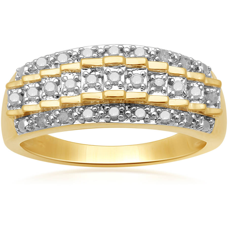 1/4 Carat T.W. White Diamond Yellow Plating over Sterling Silver Triple-Row Ring