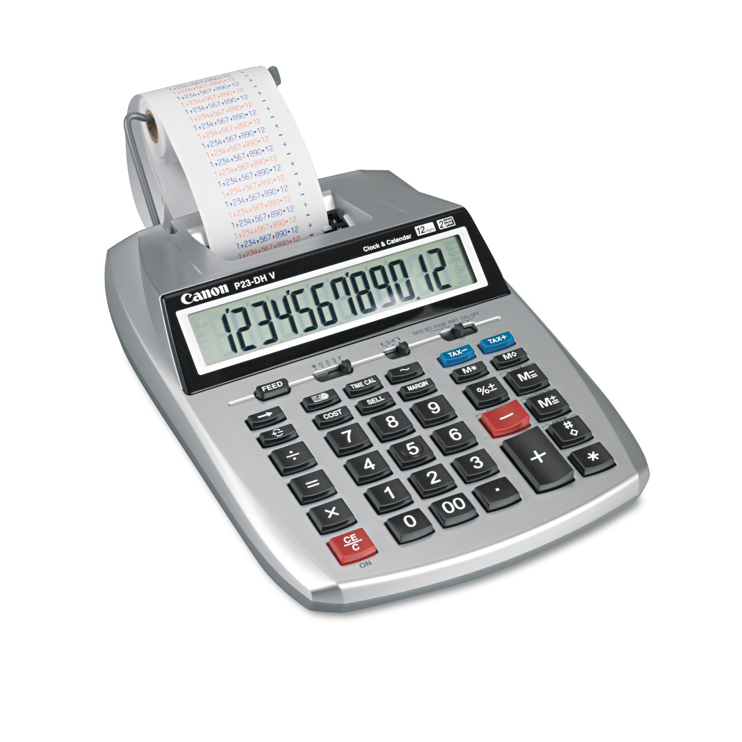 Canon P23-DHV 12-Digit Printing Calculator, Purple/Red Print, 2.3 Lines/Sec