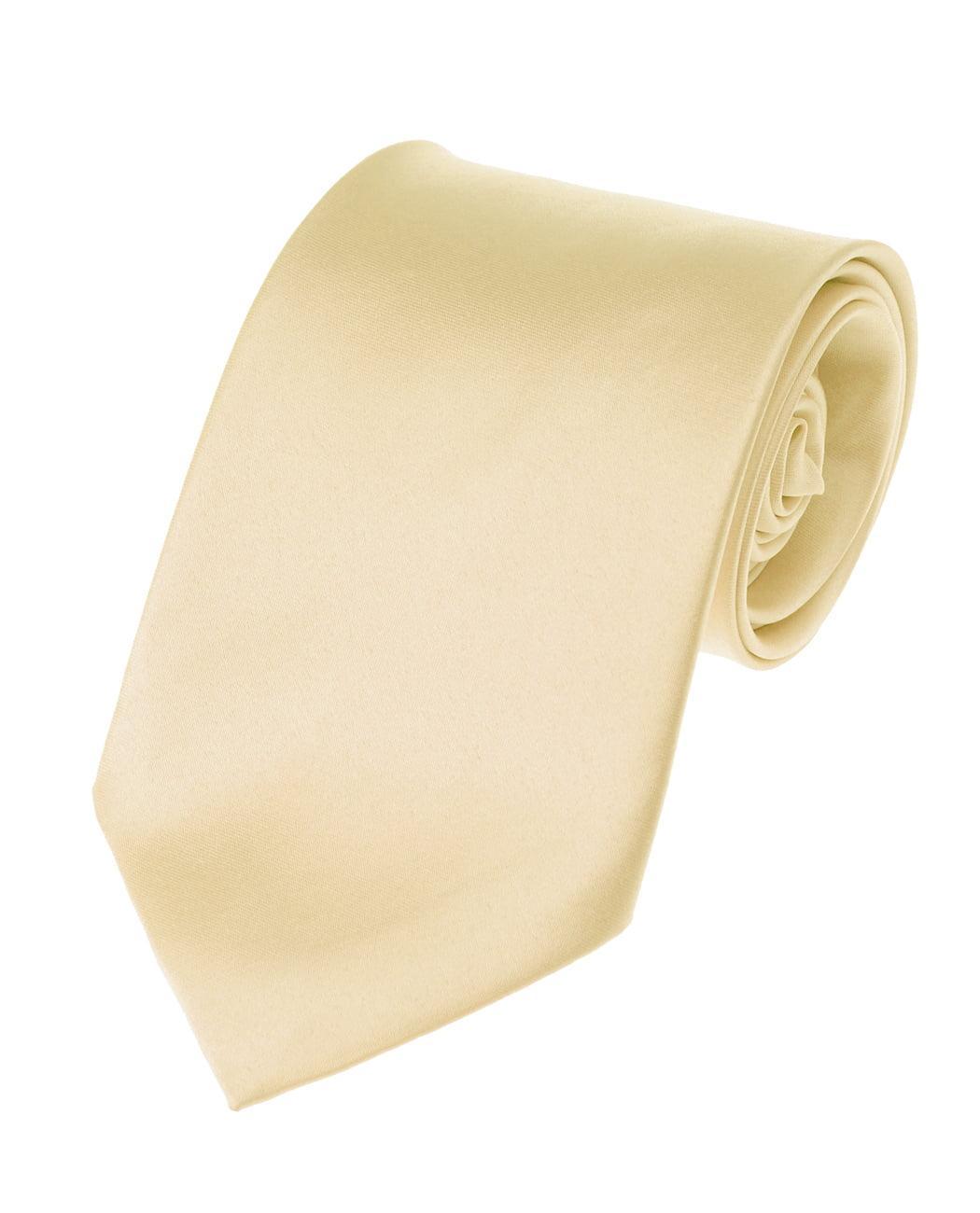 Men's Smooth Satin Solid Color Extra Long XL Necktie, Cream