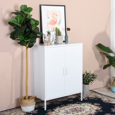 Furniture R Metal Storage Cabinet,Double Door,3-Tiers,Simple Elegant File locker Console Stand for Living Room Bedroom(White) - image 7 of 8