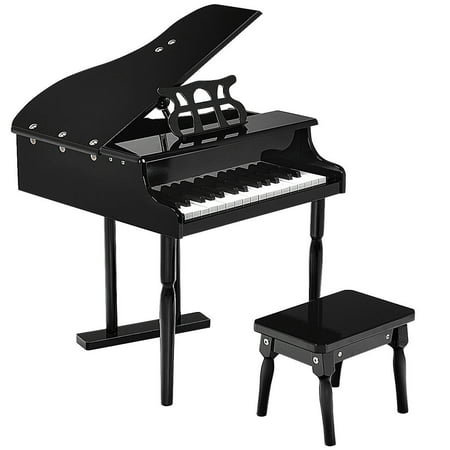 Childs 30 key Toy Grand Baby Piano w/ Kids Bench Wood Black New ()