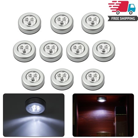 ESYNIC 10Pcs 3 LED Touch Push On/off Lights Self-stick On Click Battery Operated Lamp (Hopi Three Light)