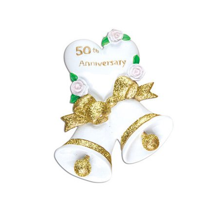 50th Golden Wedding Bells Anniversary Personalized Christmas Ornament DO-IT-YOURSELF