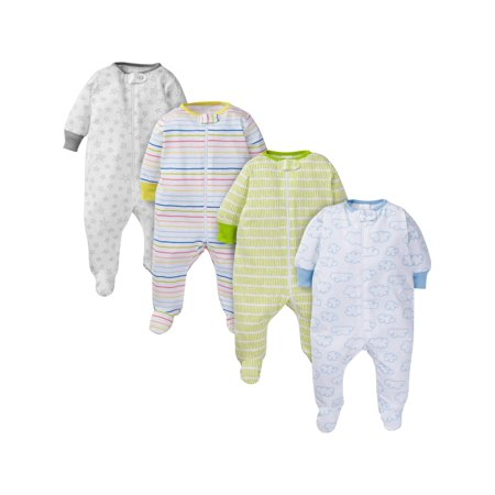 Onesies Brand Assorted zip front sleep n play sleepers, 4pk (baby boy or baby girl unisex)