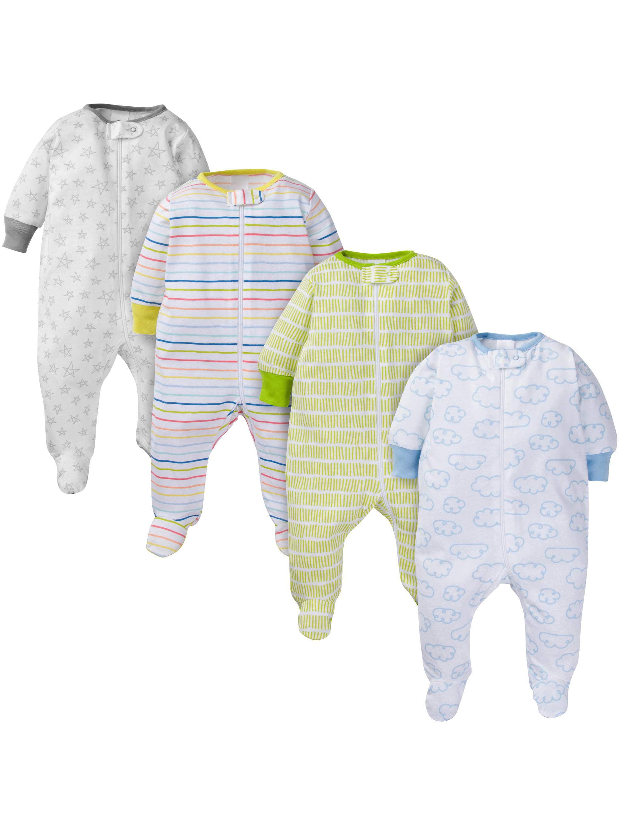 Assorted Zip Front Sleep N Play Sleepers, 4pk (Baby Boy or Baby Girl Unisex)