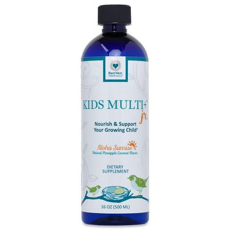 Best Nest Kids Liquid Multivitamin | Methylfolate (Folic Acid), Methylcobalamin, 100% Natural Whole Food Organic Blend, Digestive Enzymes, Liquid Multi Vitamins, 16 oz Bottle, Best Nest