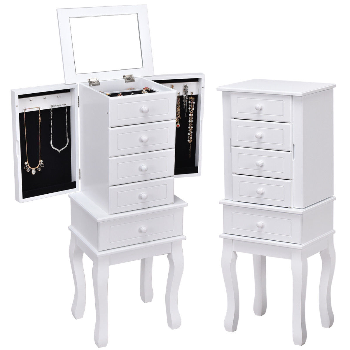 Gymax Jewelry Cabinet Armoire Box Mirrored Storage Chest Stand Organizer