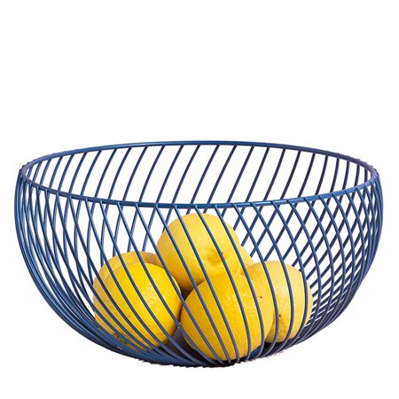 Storage Basket, Iron Art Fruit Basket Storage Bowl Living Room Storage Dried Fruit Holder, Blue - Fruits Basket Fruits