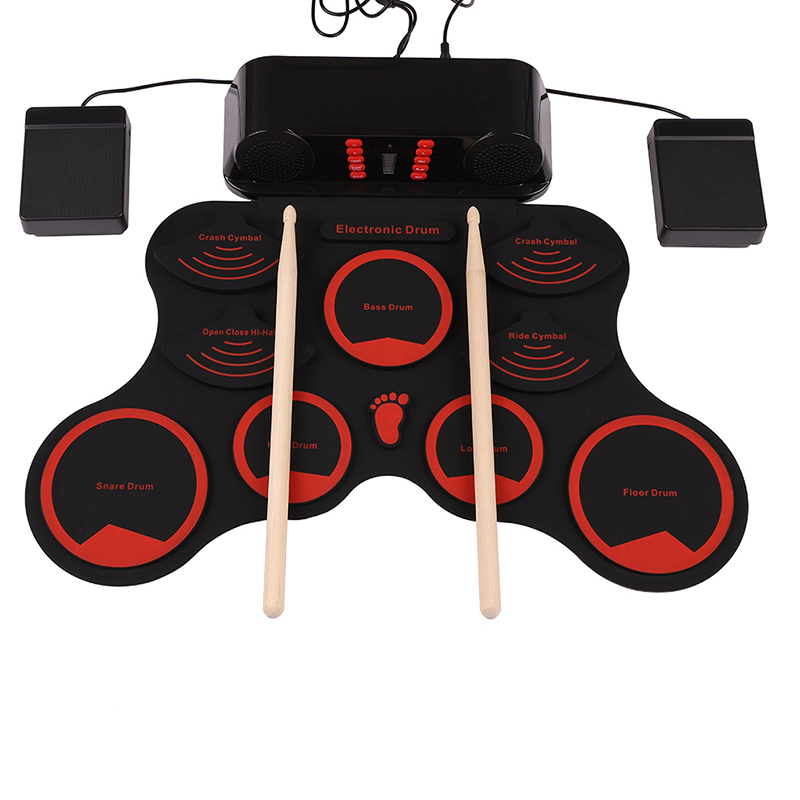 Portable Electronic Drum Digital Roll Up Touch Sensitive Drum Practice Drum Kit -9 Silicon Pads with Drumsticks Pedals USB Charger