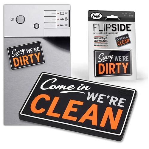 Fred & Friends Flip Side Reversible Dishwasher Magnet Clean Dirty Dishes Kitchen Sign