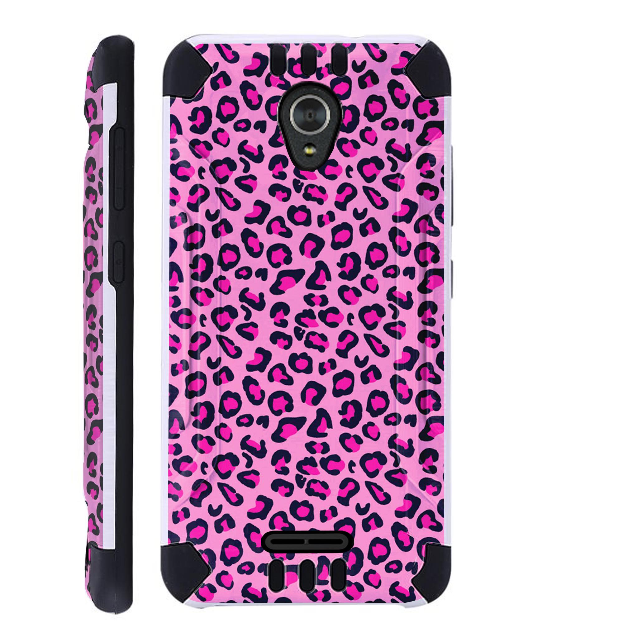 For Alcatel idealXCITE / Alcatel Verso / Alcatel Raven / Alcatel CameoX / Alcatel Fiji Case Brushed Metal Texture Hybrid TPU KombatGuard Phone Cover (Pink Leopard Skin)