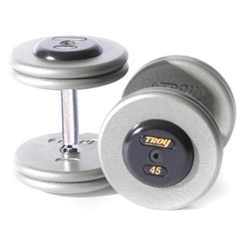 Troy Barbell Fixed Pro-Style Dumbbells - Straight Handle with Chrome End Cap