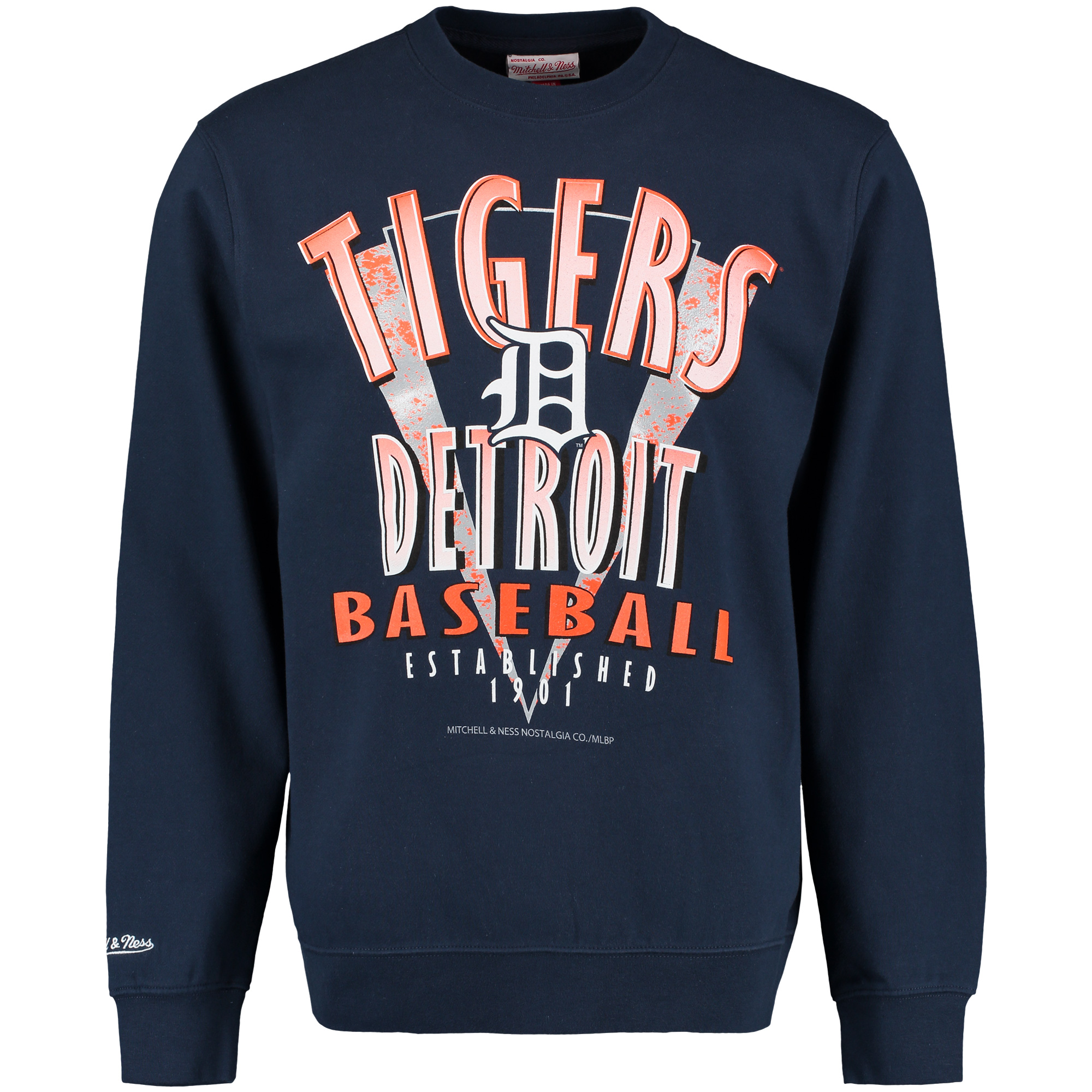 Detroit Tigers Mitchell & Ness Draft Choice Crew Neck Sweatshirt - Navy