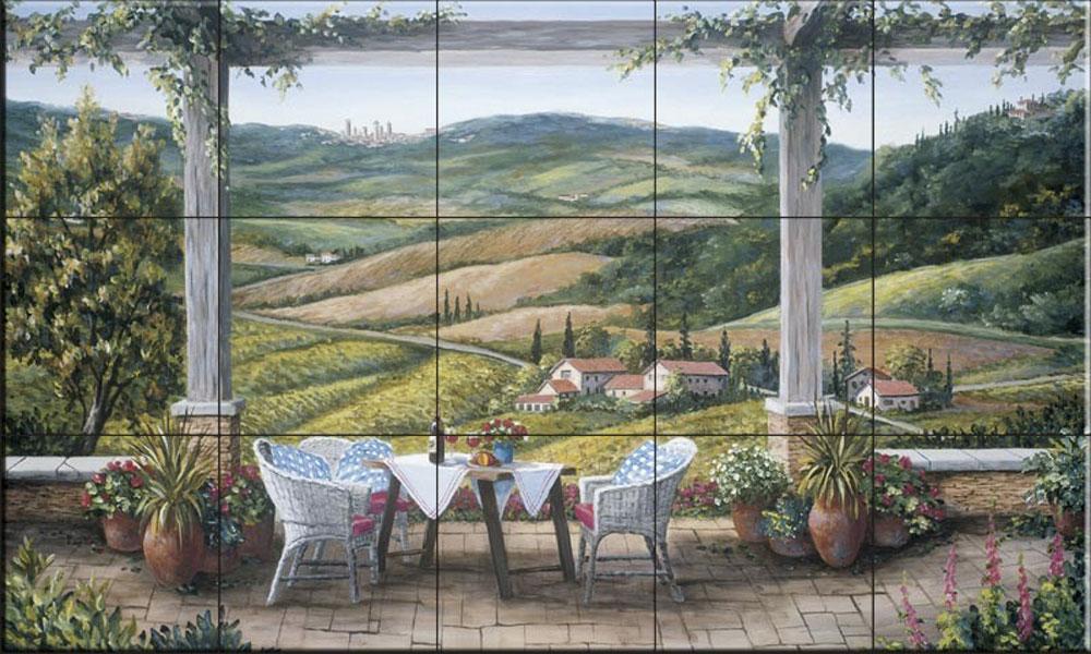 Kitchen backsplash//Bathroom Shower by Barbara Felisky Ceramic Tile Mural A Tuscany Vista