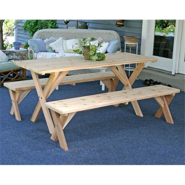 Creek Vine Designs WF27WCLTCB4CVD Red Cedar 27 inch Wide 4 ft.  Backyard Bash Cross Legged Picnic Table with Detached