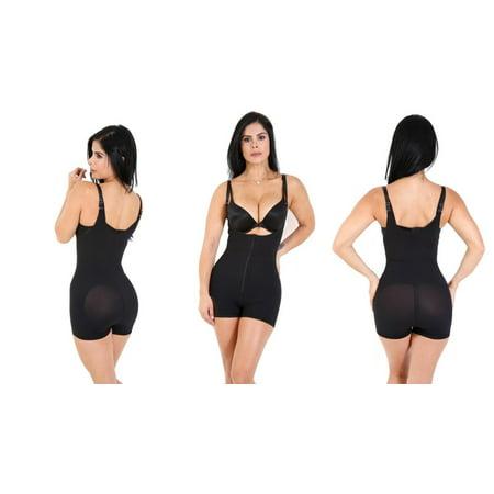 SHAPEX Butt Lifter Jumper Bodysuit High Rise Waistline Comfy Sexy Zipper Front Opening Design Black M