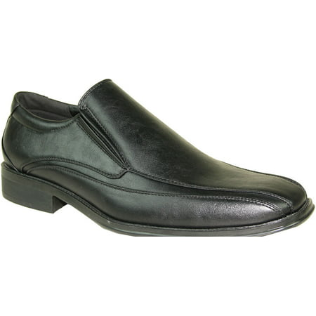 BRAVO Men Dress Shoe MILANO-7 Classic Loafer with Double Runner Square Toe and Leather Lining ()