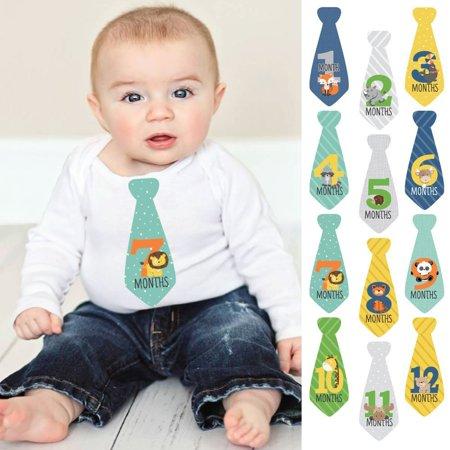 Zoo Animals - Tie Baby Boy Monthly Stickers - Baby Shower Gift Ideas - Necktie 12 Piece for $<!---->