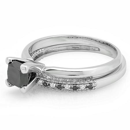Dazzlingrock Collection 1.50 Carat (ctw) 14K Princess Cut Black & Round White Diamond Ladies Bridal Solitaire Engagement Ring With Matching Millgrain Wedding Band Set 1 1/2 CT, White Gold, Size