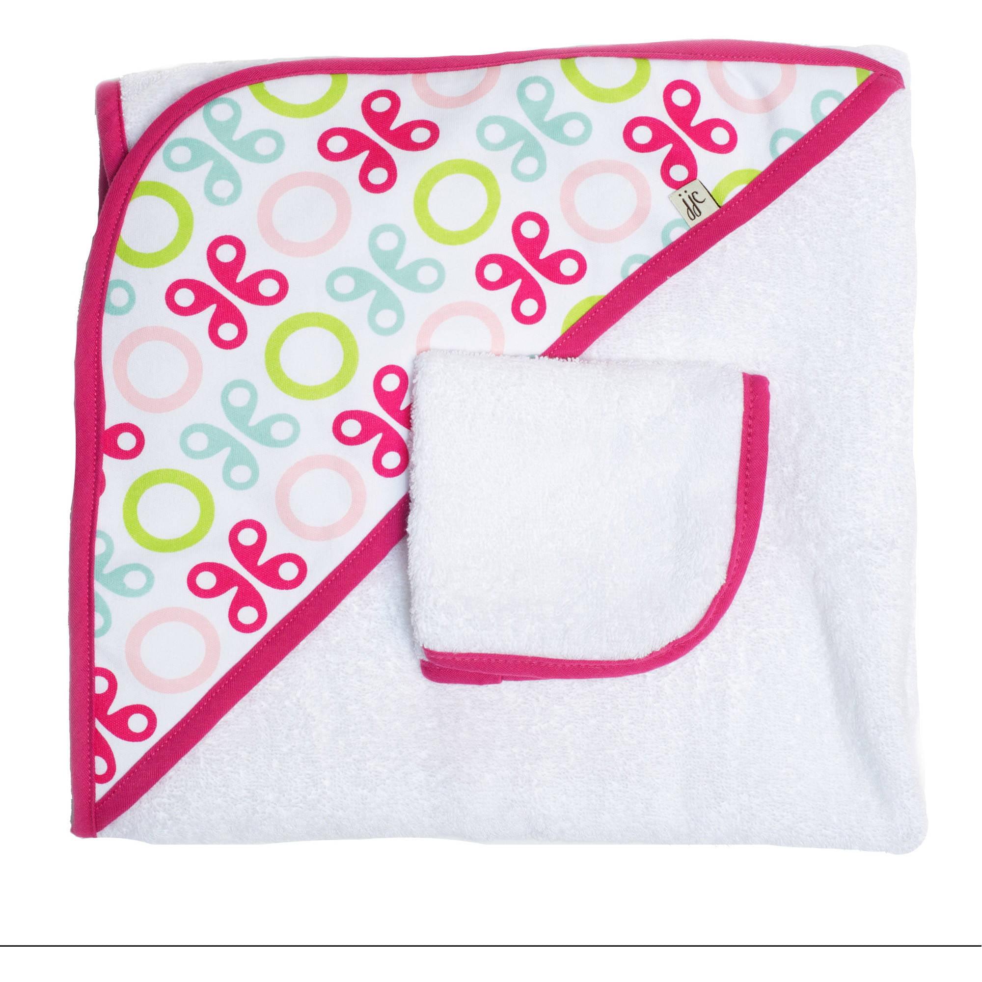JJ Cole Hooded Towel Set, Pink Butterfly