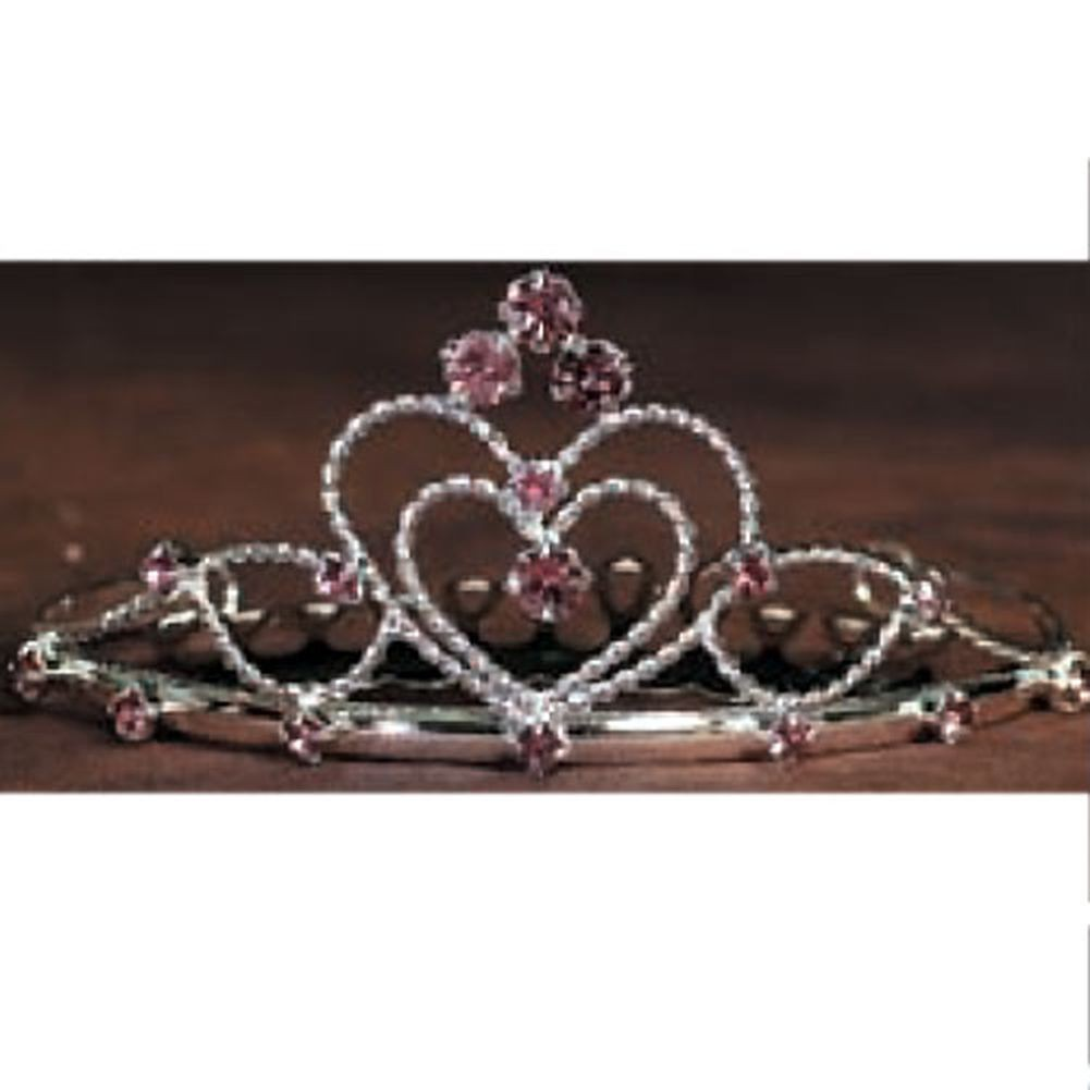 Angels Garment Little Girls Silver Rhinestone Lilac Heart Tiara