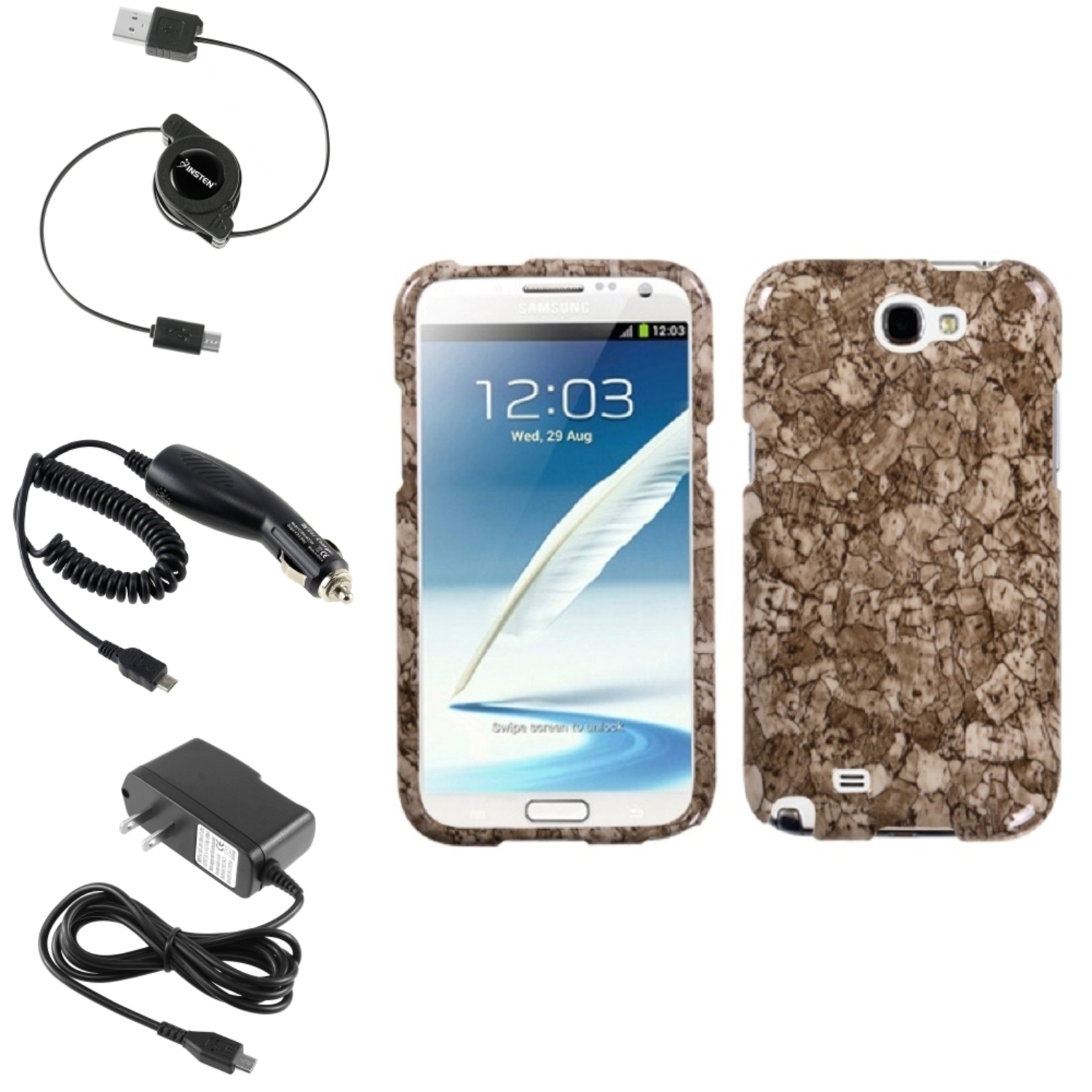 Insten Stone Vein Hard Case Car Home Charger Cable For Samsung Galaxy Note 2 II