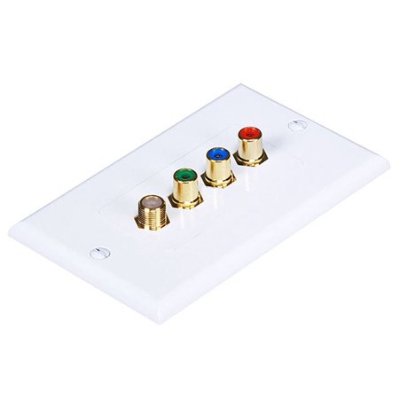 Monoprice 3 RCA Component / F Connector Two-Piece Inset Wall Plate (RGB Component + F Connector) - Coupler Type