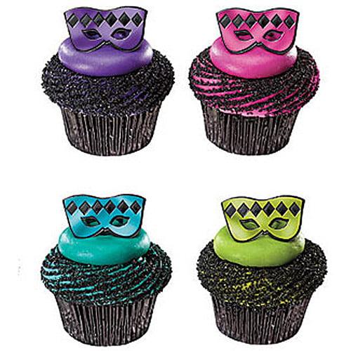 Masquerade Mask Cupcake Rings, 24pk