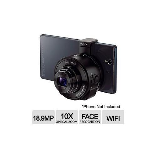 Sony DSCQX10/B Smartphone Attachable Lens-Style Camera - 10x Optical Zoom, NFC/Wi-Fi, Exmor R CMOS Sensor, Black