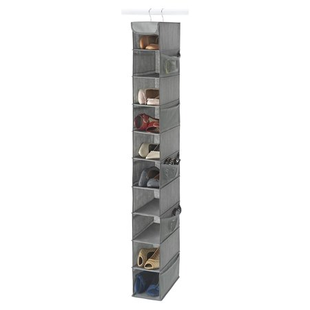 "Zober 10-Shelf Hanging Closet Organizer 5 1/2"" Wide, 10 1/2"" Deep and 54"" Tall, 10 Side Mesh Pockets And 2 Sturdy Hooks, For Clothes Storage, And Shoes, Etc. - Grey"