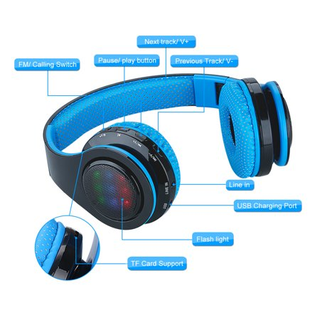 EXCELVAN Folding Wireless Bluetooth LED Stereo Headphones Classic Adjustable Headsets\ufffd\ufffd\ufffdGreat Heavy Bass, FM Radio/ TF Card, with Soft Earpads Earphones Men and Women Boys and Girls Earpieces for iPhone