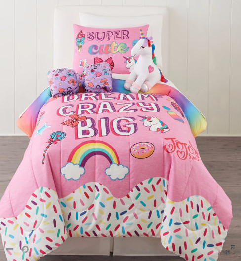 JoJo Siwa Reversible Twin / Full Comforter & Sham Set (2 Piece Bedding)