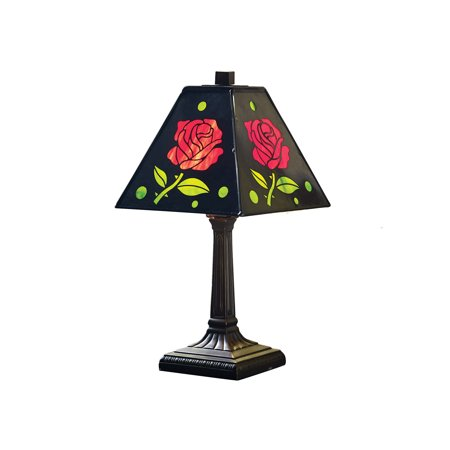 River of Goods Red Roses Accent Lamp - Arts & Crafts Style Table Top Lighting with Stained Glass and Black Metal Shade for $<!---->