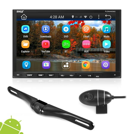 "PYLE PLDNANDVR695 - Double Din Car Receiver System - 7"" Touchscreen Android Stereo with DVD and CD Player - 1080p DVR Dash Cam and Rearview Backup Camera with Web, App, GPS, Navigation and (Atoto 7 Hd Touchscreen Android Car Navigation Stereo)"