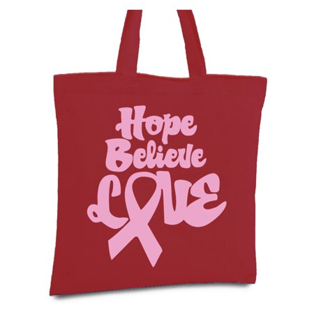 Awkward Styles Hope Believe Love Tote Bag Breast Cancer Awareness Canvas Tote Bag Pink Ribbon Reusable Cloth Bag Funny Cancer Survivor Book Bag Gifts for Cancer Warrior Breast Cancer Shopper Bags - Breast Cancer Bags