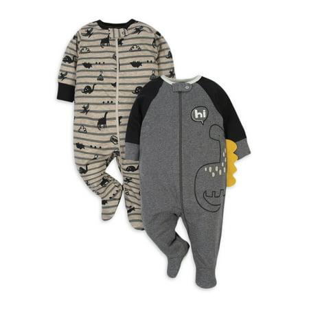 Gerber Organic Cotton Baby Boy Dino Sleep N Play, 2 Pack