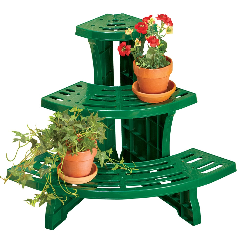 Versatile 3 Tier Corner Plant Stand, Green by Collections Etc