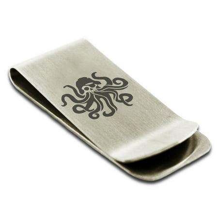 Stainless Steel Kraken Octopus Pirate Skull Engraved Money Clip Credit Card Holder